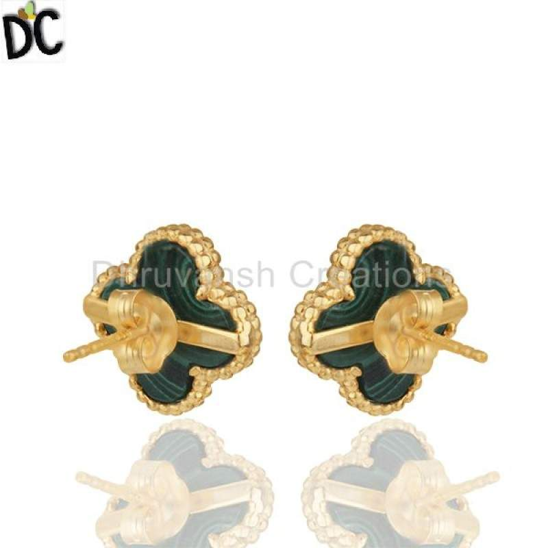 Melachite Gemstone 925 Silver Clover Design Stud Earrings Suppliers