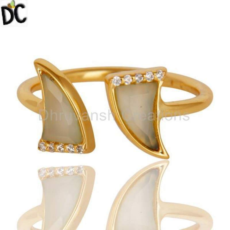 Aqua Chalcedony Two Horn Cz Studded Adjustable 14K Gold Plated 92.5 Silver Ring Suppliers