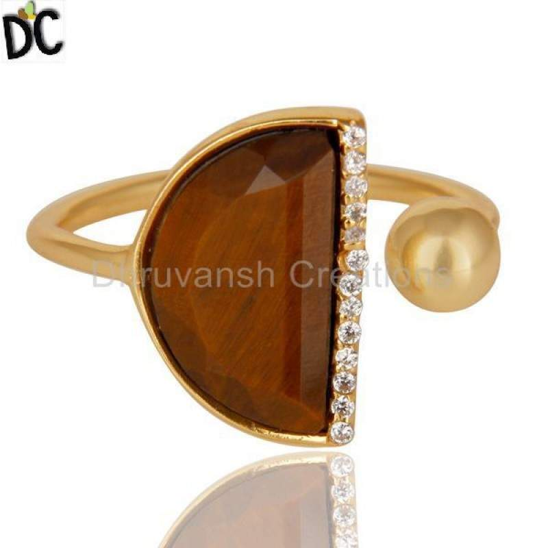 Tiger eye Half Moon Ring Cz Studded 14K Gold Plated Sterling Silver Ring Suppliers
