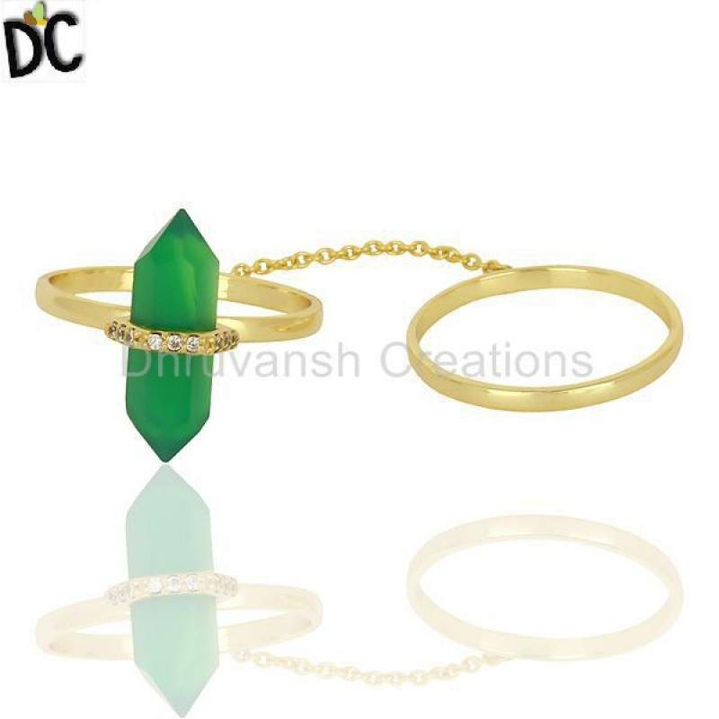 Green Onyx And White Cz Studded Two Finger Ring Gold Plated Silver Jewelry Suppliers