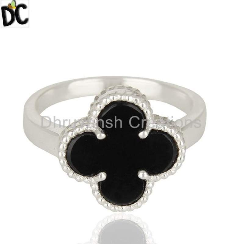 Black Onyx Gemstone Clover Design Custom 925 Silver Ring Manufacturers