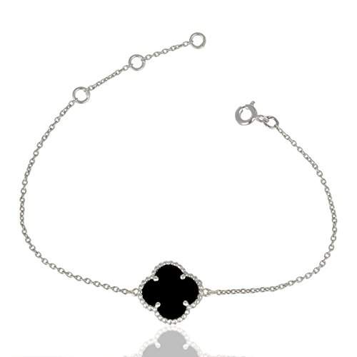 Black Onyx Gemstone Jewelry Chain Bracelet, 925 Sterling Silver Clover Bracelet suppliers