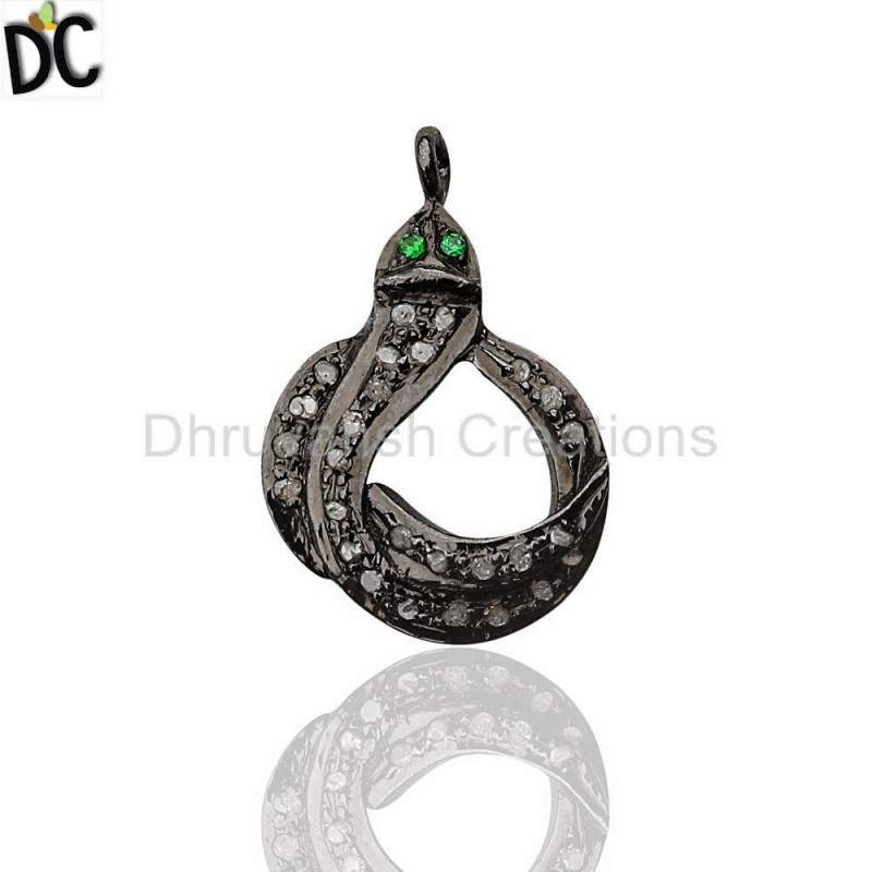 Real Pave Diamond Tsavorite Silver Snake Charm Pendant Vintage Pave Diamond Jewelry Wholesale from India