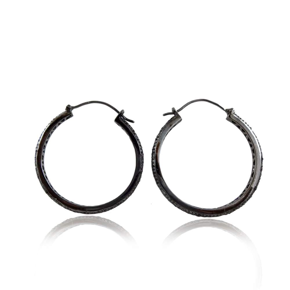 Pave Diamond Hoop Earrings 925 Sterling Silver Jewelry For Women's