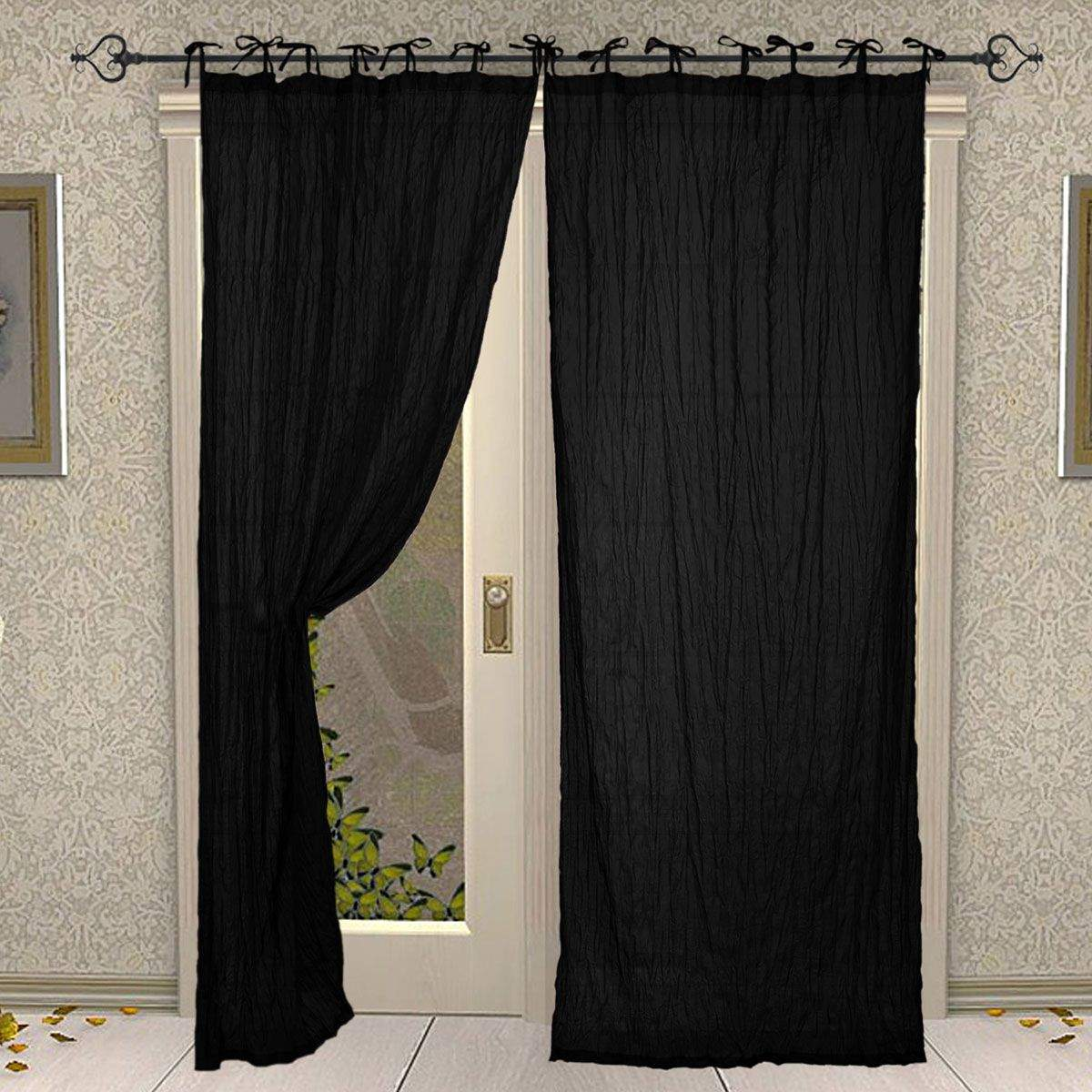 Tie Top Cotton Plain Solid Black Curtain for Windows and Door