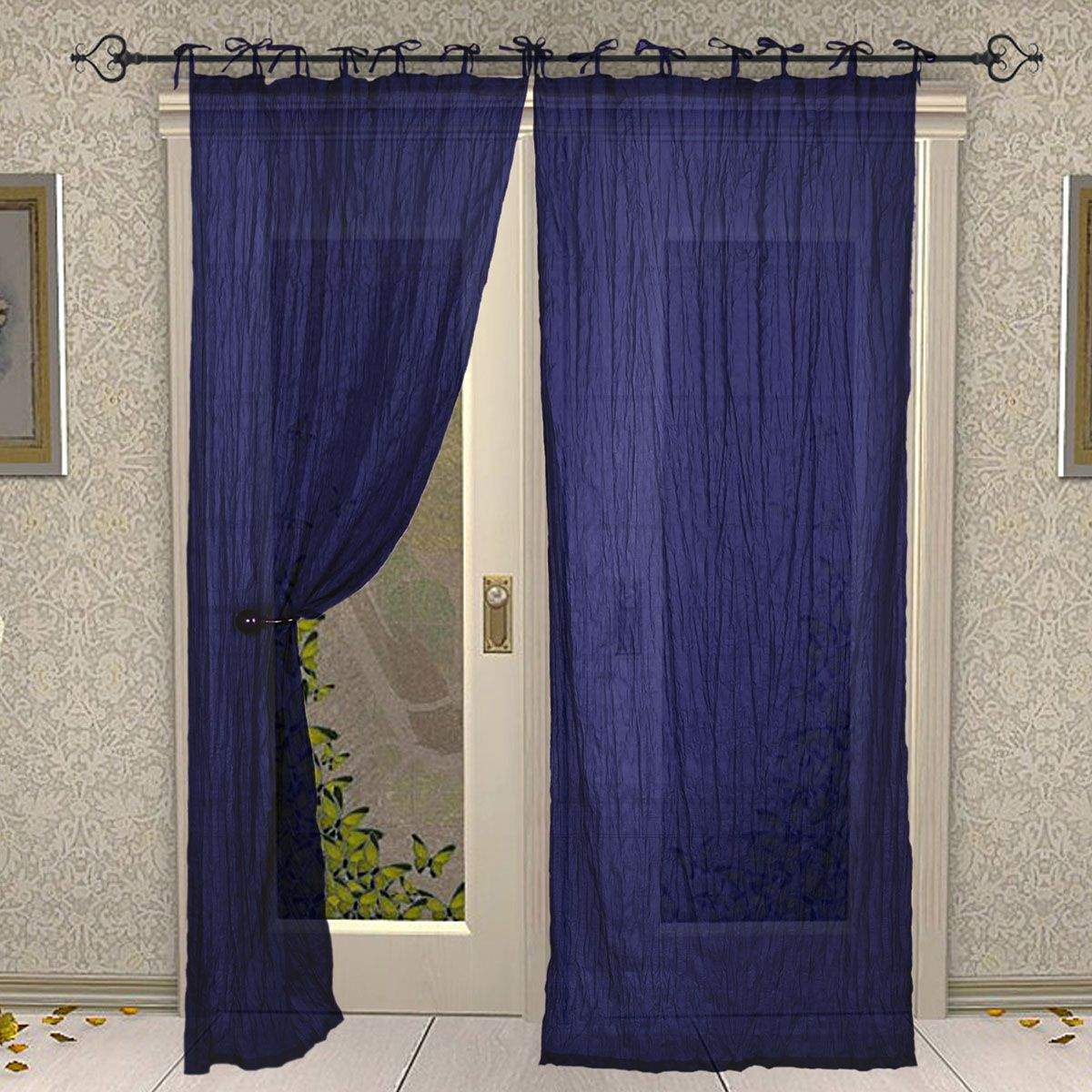 Tie Top Cotton Plain Solid Blue Curtain for Windows and Door