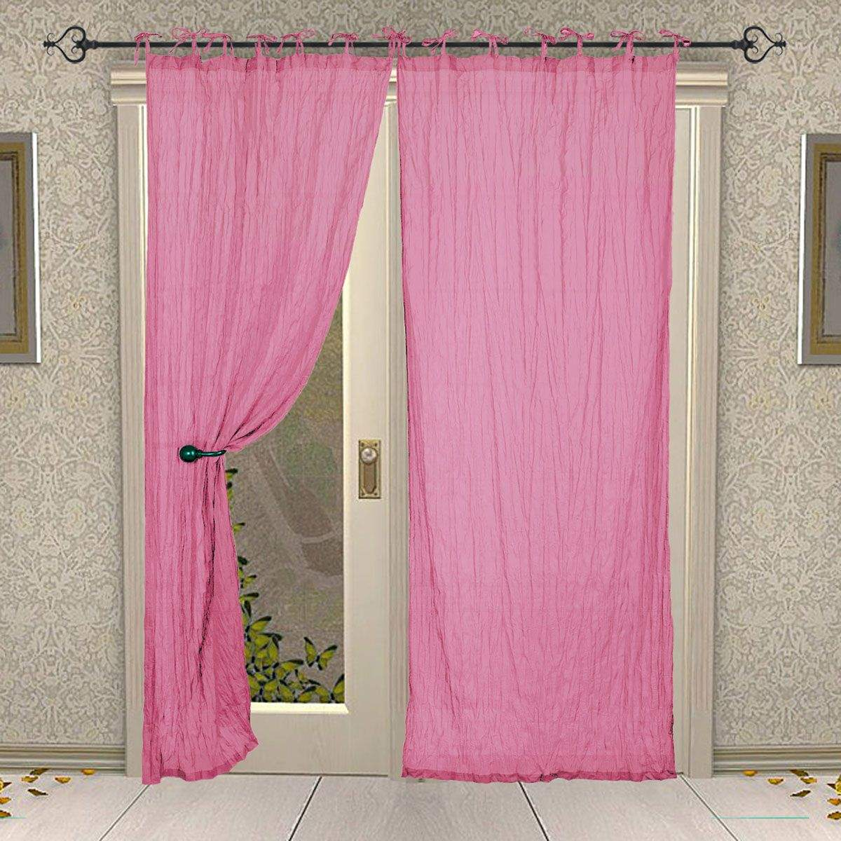 Tie Top Cotton Plain Solid Pink Curtain for Windows and Door
