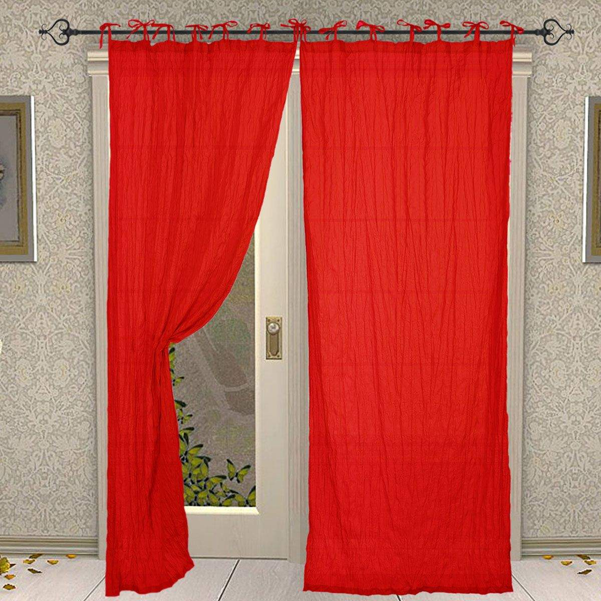 Rod Pocket Cotton Plain Solid Red Curtain for Windows and Door