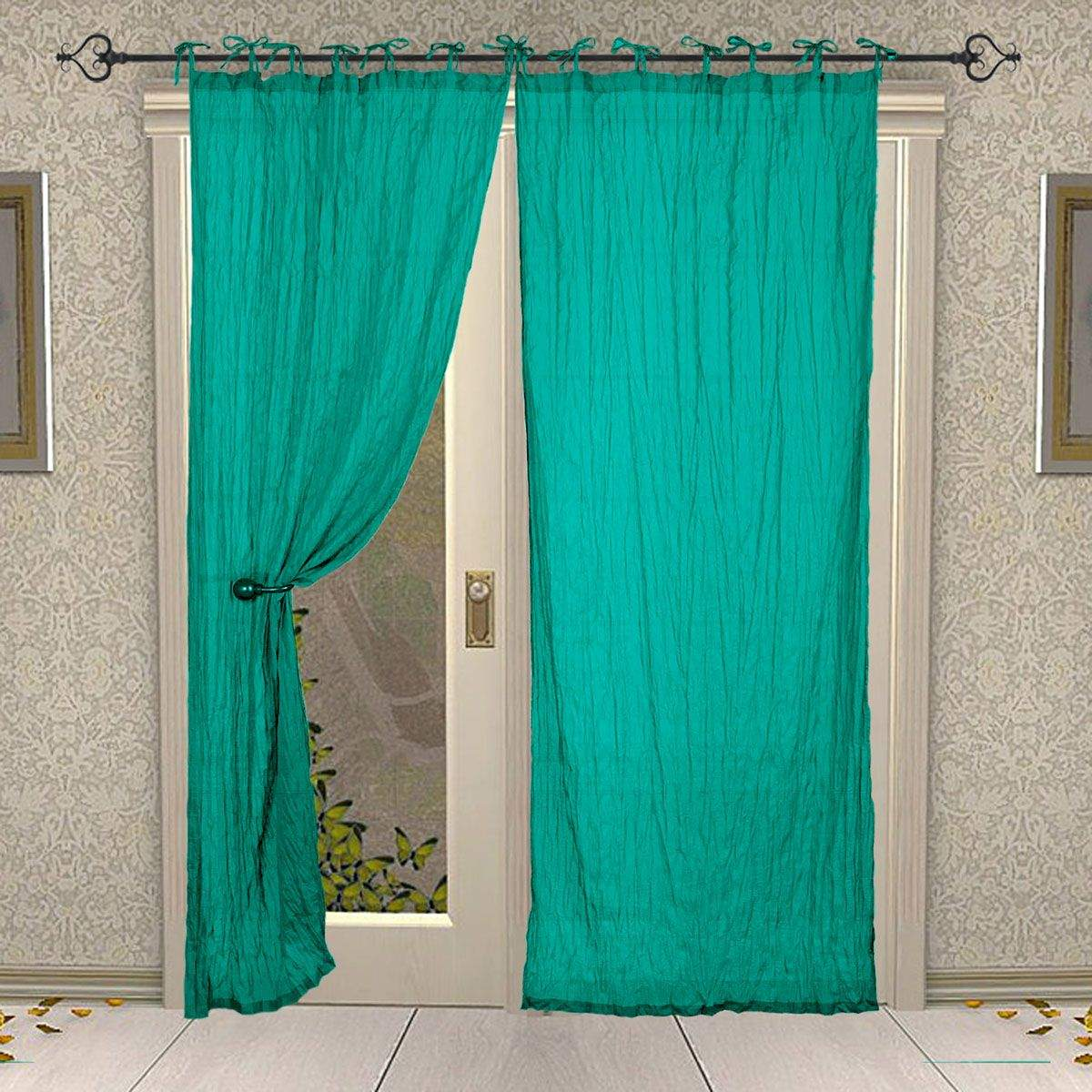 Tie Top Cotton Plain Solid Turquoise Curtain for Windows and Door