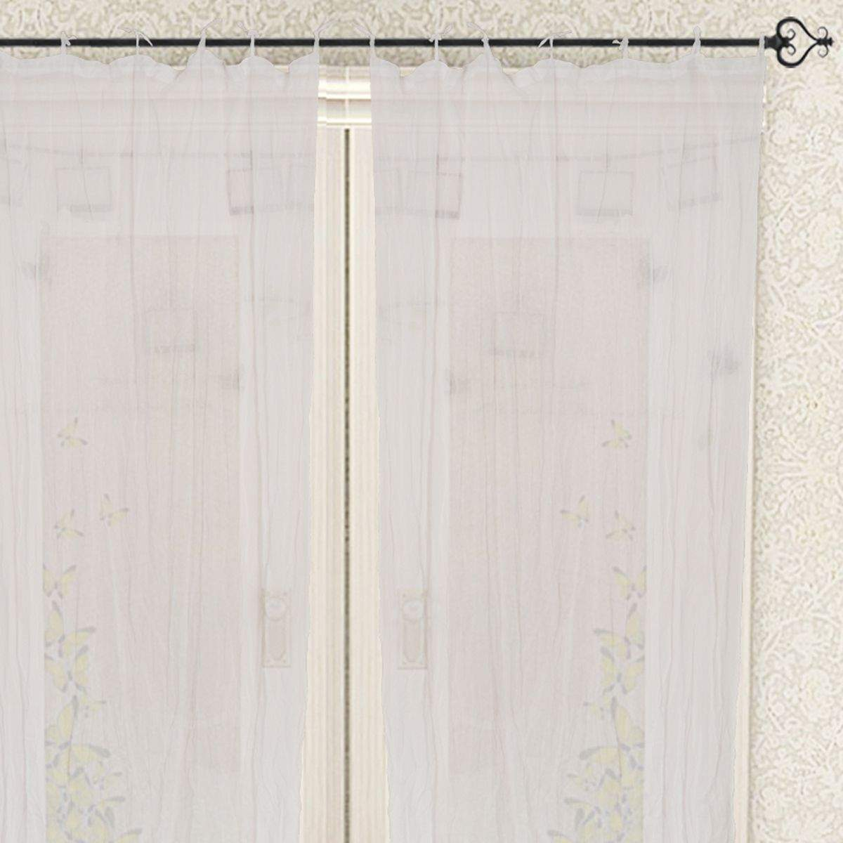 Tie Top Cotton Plain Solid White Curtain for Windows and Door