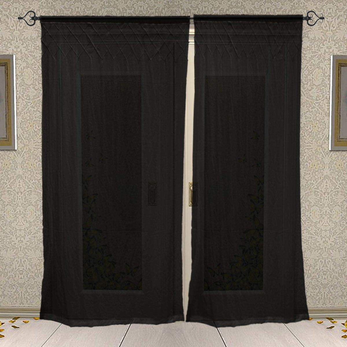 Rod Pocket Cotton Plain Solid Blue Curtain for Windows and Door