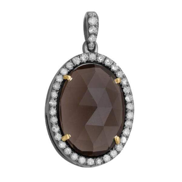 pave diamond and gemstone pendant