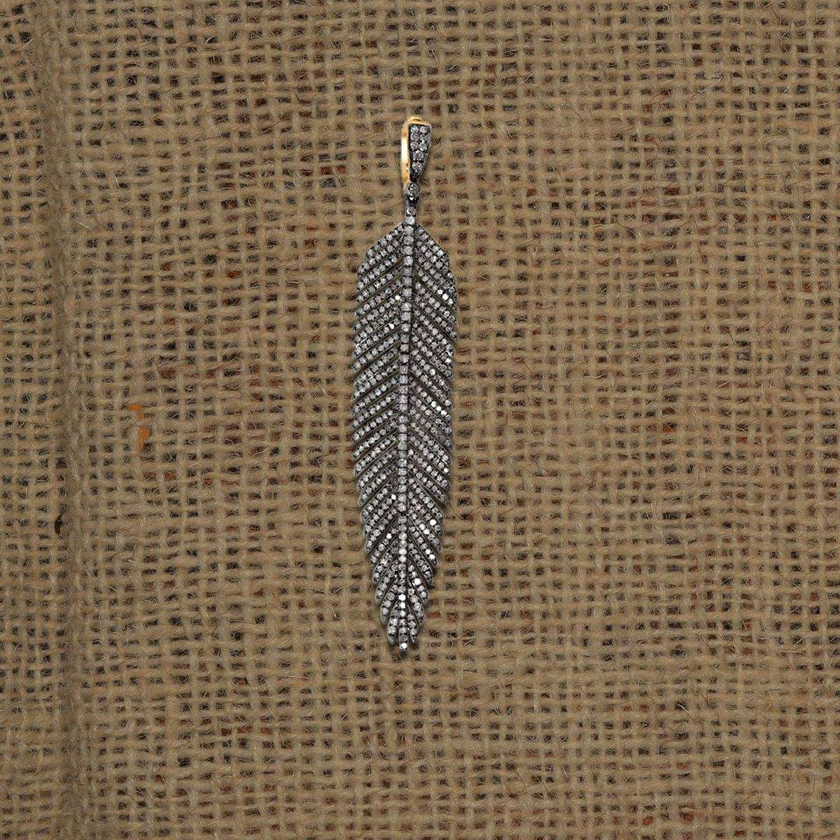 Wholesale Designer Pave Diamond Feather Charms Pendant Custom Jewelry Manufacturers