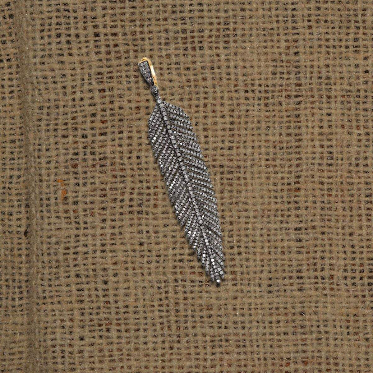 Wholesale Designer Pave Diamond Feather Charms Pendant Custom Jewelry Suppliers