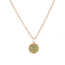 Rose Gold Plated 925 Sterling Silver Tsavorite Gemstone Charms Chain Necklace