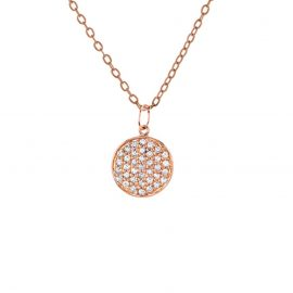 Designer Rose Gold Plated 925 Sterling Silver Pave Diamond Charms Chain Necklace