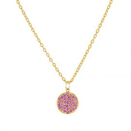 Yellow Gold Plated 925 Sterling Silver Pave Amethyst Gemstone Charms Chain Necklace Suppliers