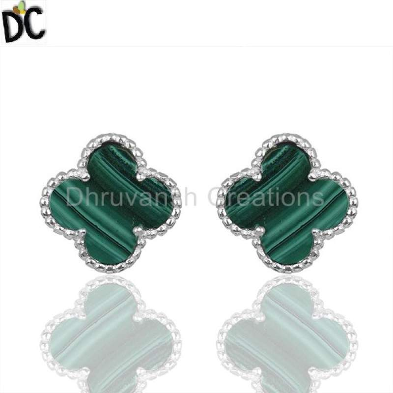 Malachite Vintage The Magic Motif Sterling Silver Studs Earrings Clover Jewelry suppliers