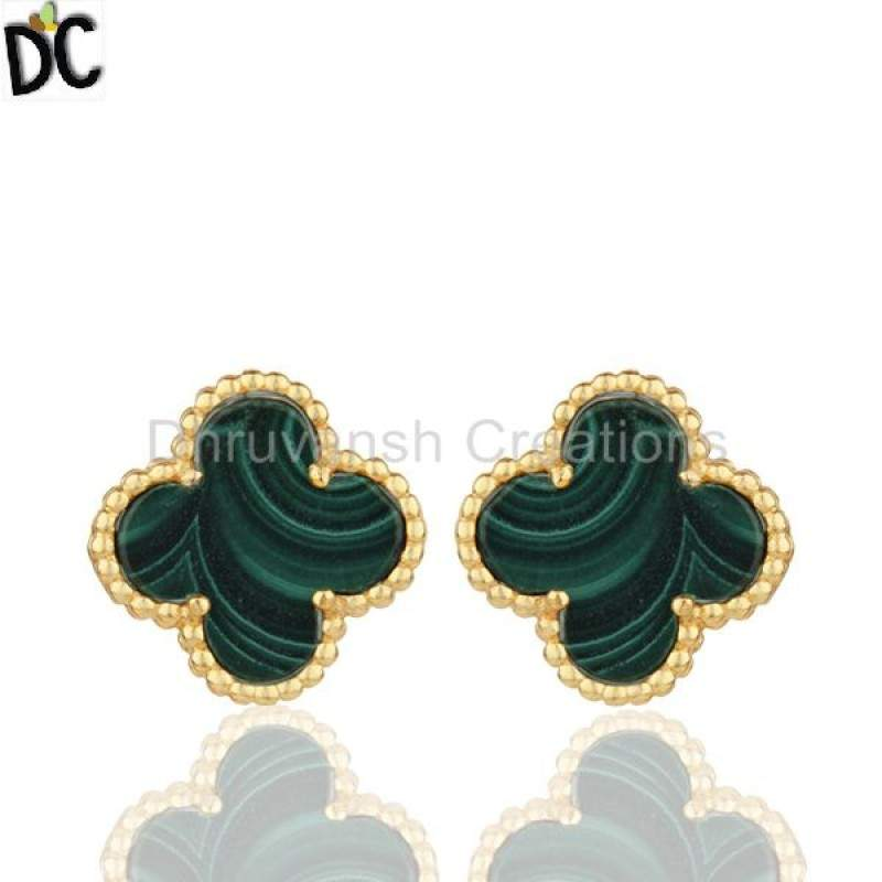Melachite Gemstone 925 Silver Clover Design Stud Earrings Manufacturers