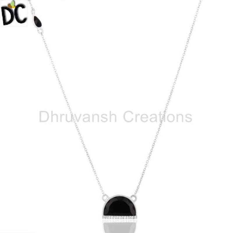Black Onyx Half Moon Cz Studded 92.5 Sterling Silver Wholesale Pendent Manufacturers
