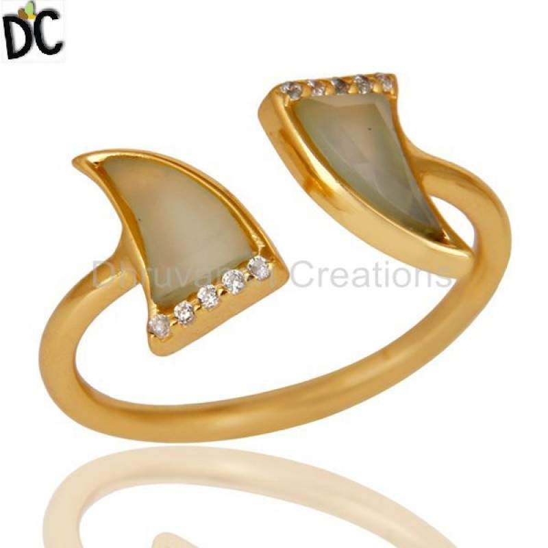 Aqua Chalcedony Two Horn Cz Studded Adjustable 14K Gold Plated 92.5 Silver Ring Manufacturers