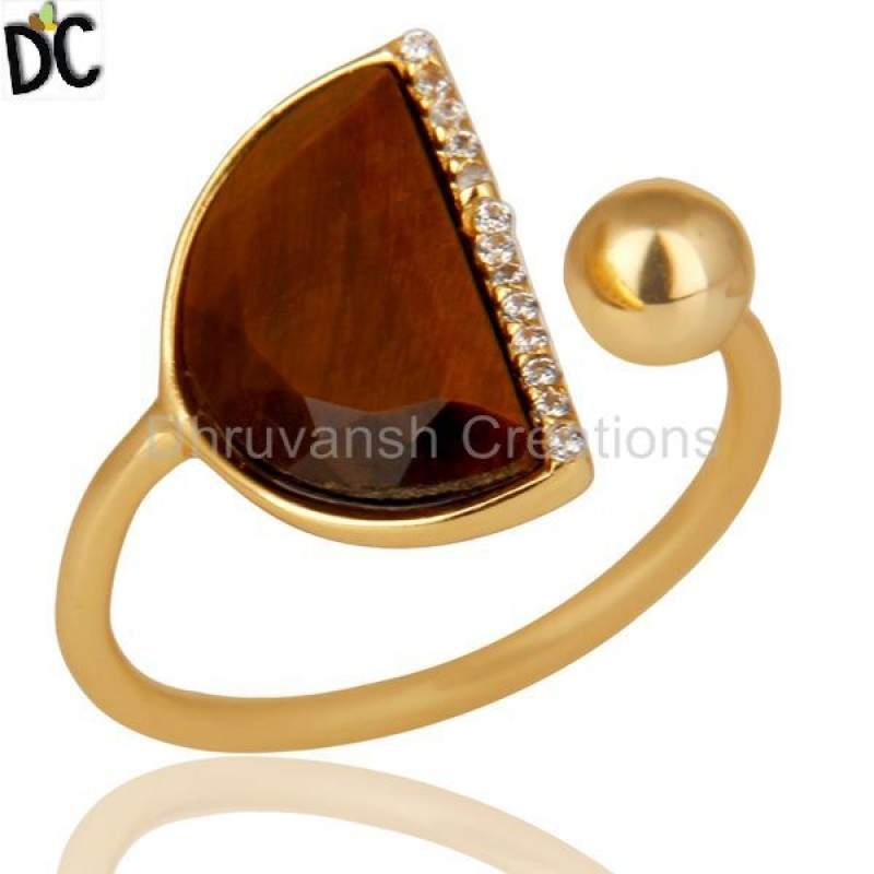 Tiger eye Half Moon Ring Cz Studded 14K Gold Plated Sterling Silver Ring Suppliers India