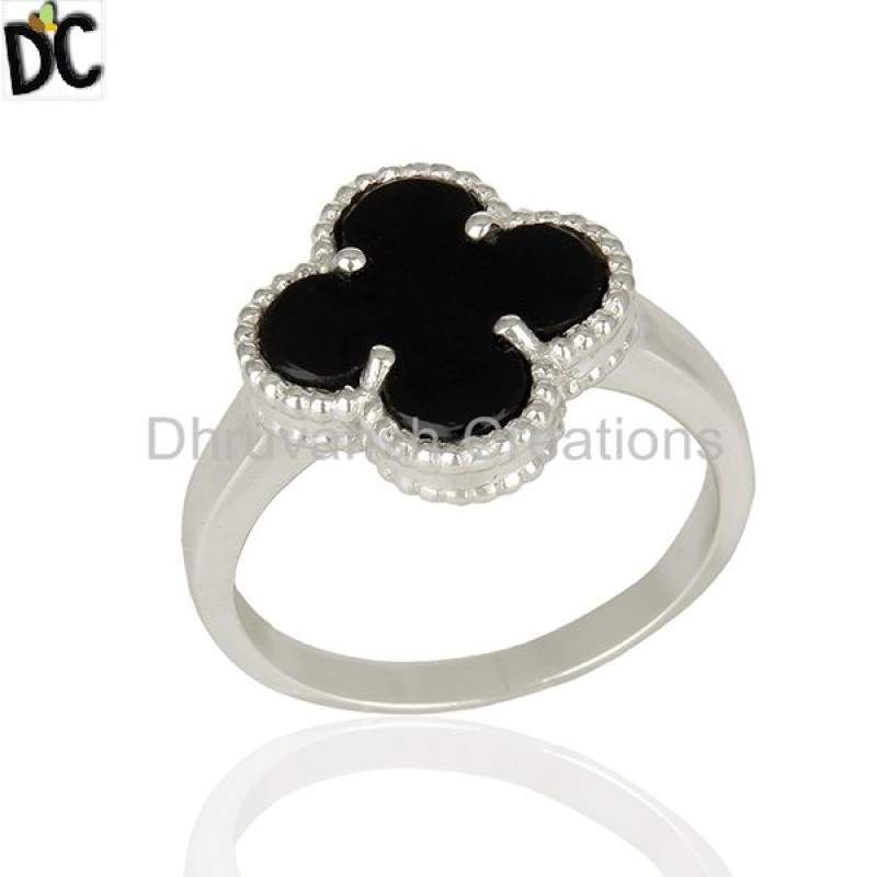 Black Onyx Gemstone Clover Design Custom 925 Silver Ring suppliers