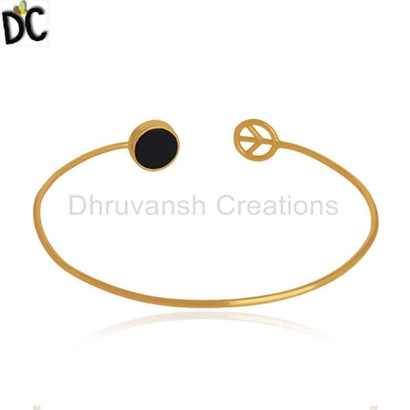Wholesale Black Onyx 925 Silver Gold Plated Designer Peace Sign Cuff Bracelet wholesalers