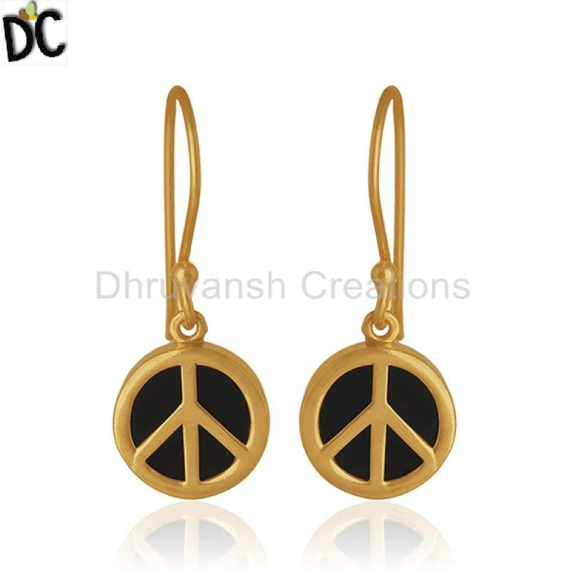 Exclusive Peace Sign Drop Earring Gemstone Jewelry Gold Plated Silver Earrings Supplier