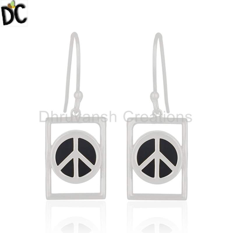 Wholesale 925 Silver Peace Sign Earring Black Onyx Jewelry wholesalers