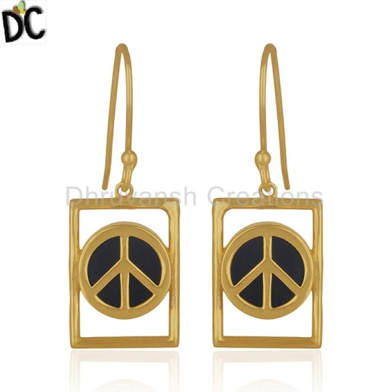 Gold Plated Silver Peace Sign Designer Earring Black Onyx Gemstone Jewelry Suppliers