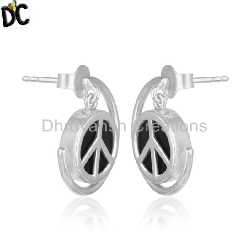 New Peace Sign 925 Silver Charm Earring Black Onyx Gemstone Jewelry manufacturer