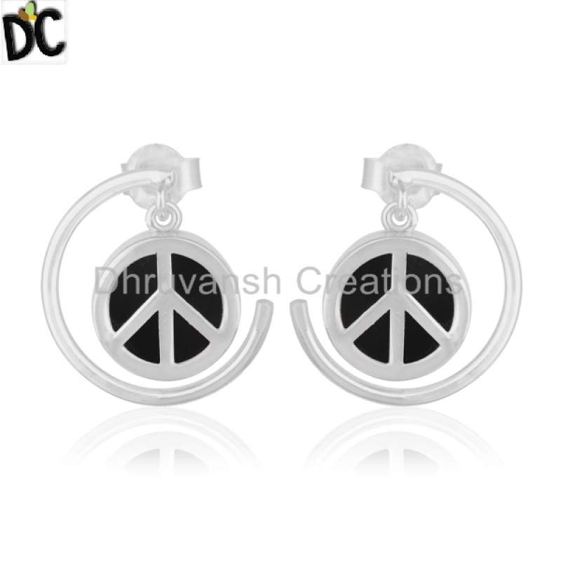 New Peace Sign 925 Silver Charm Earring Black Onyx Gemstone Jewelry wholesaler