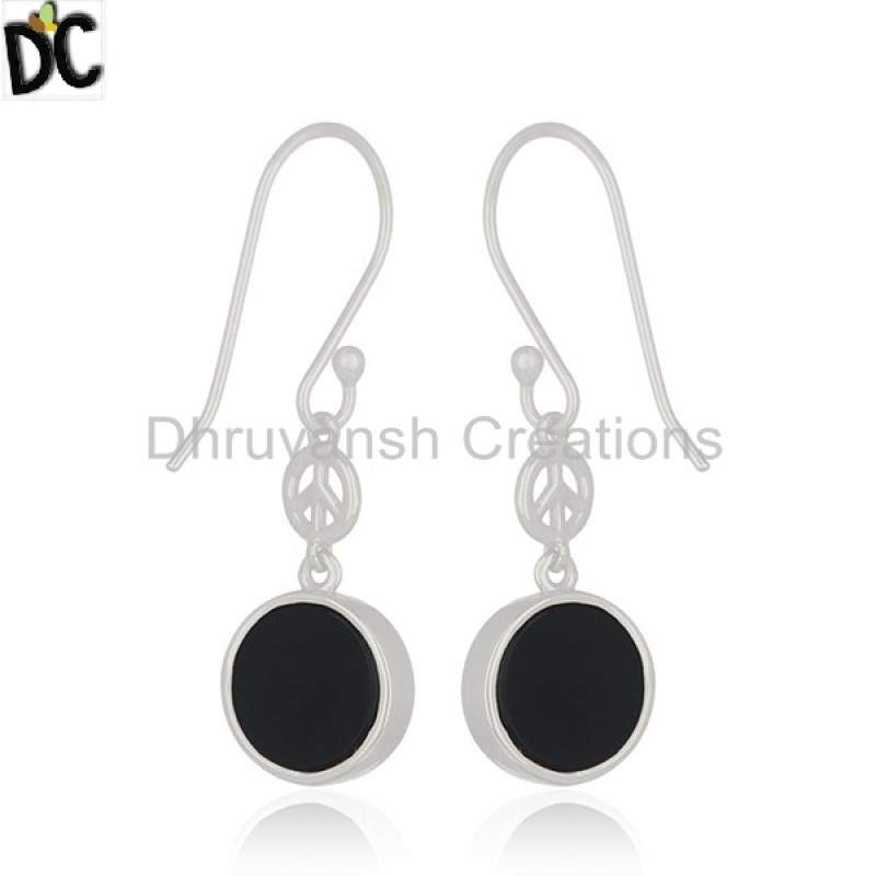 925 Silver Drop Earring Onyx Gemstone Jewelry Designer Peace Sign Earring suppliers