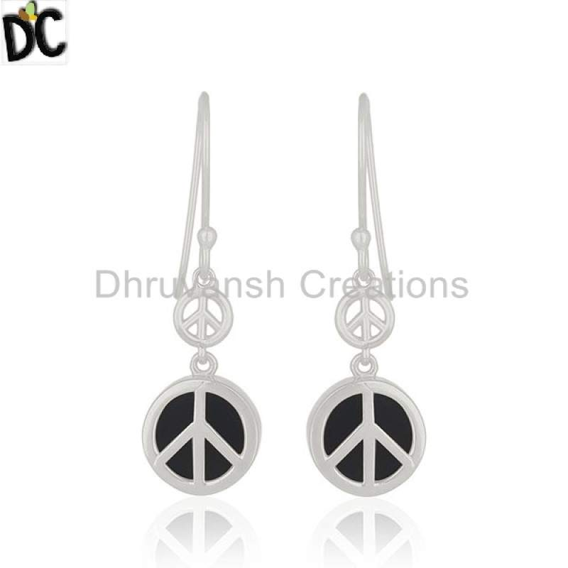925 Silver Drop Earring Onyx Gemstone Jewelry Designer Peace Sign Earring Manufacturers
