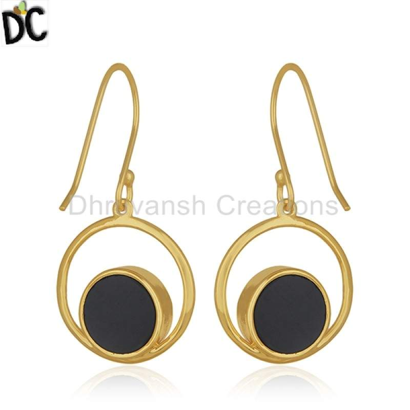 Wholesale Gold Plated Silver Jewelry Onyx Gemstone Peace Sign Designer Earrings