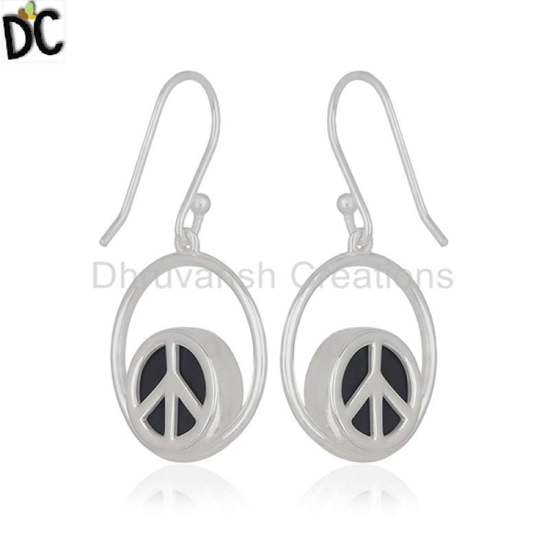Exclusive Peace Sign Earring Gemstone Jewelry 925 Silver Earring Suppliers