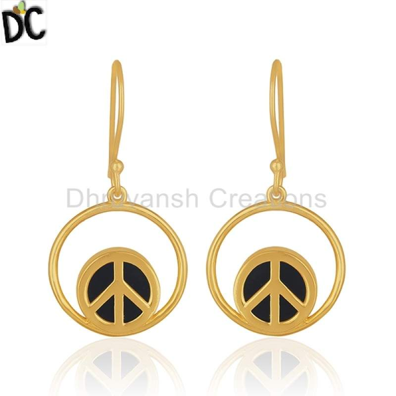 Gold Plated Silver Jewelry Onyx Gemstone Peace Sign Designer Earrings manufacturer