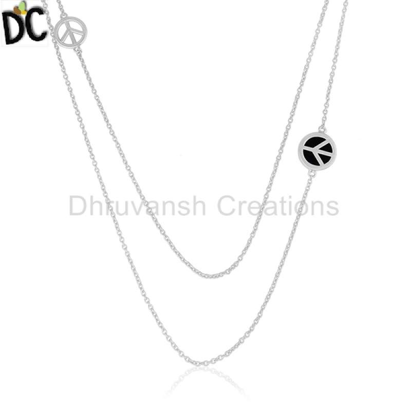 925 Silver Peace Sign Chain Necklace Black Onyx Jewelry wholesalers