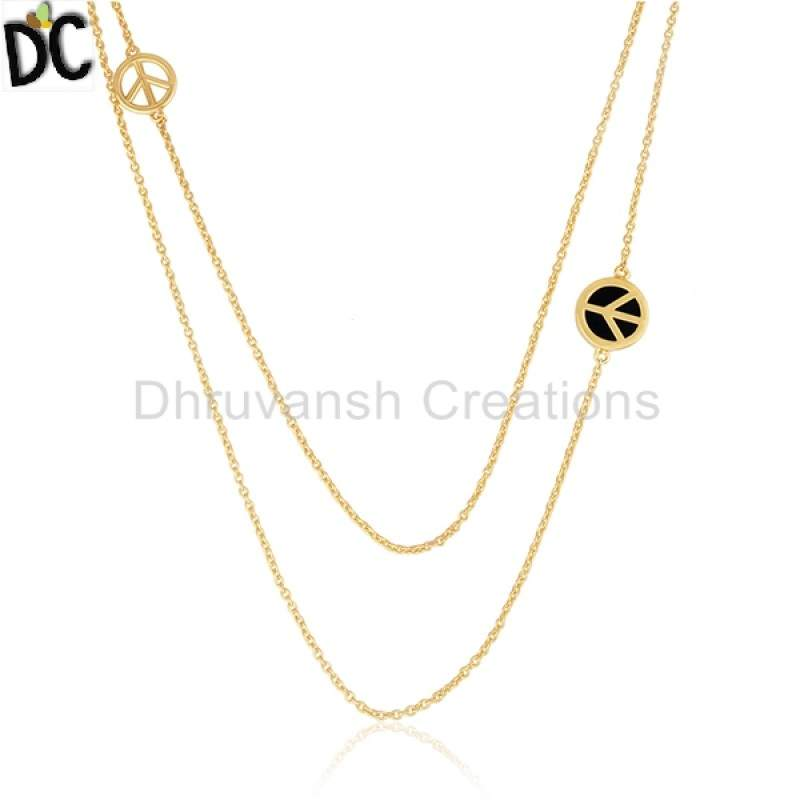 Wholesalers Peace Sign Gold Plated Silver Chain Necklace Black Onyx Designer Jewelry