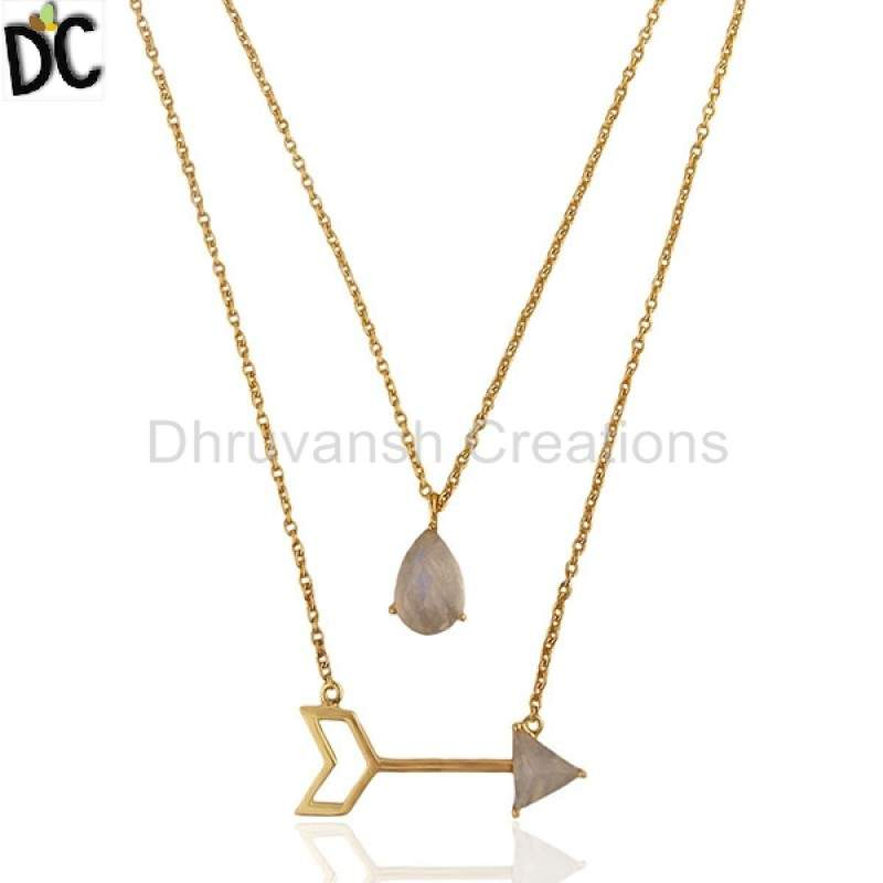 Designer Gold Plated Silver Moonstone Jewelry Arrow Design Chain Pendant Necklace Suppliers