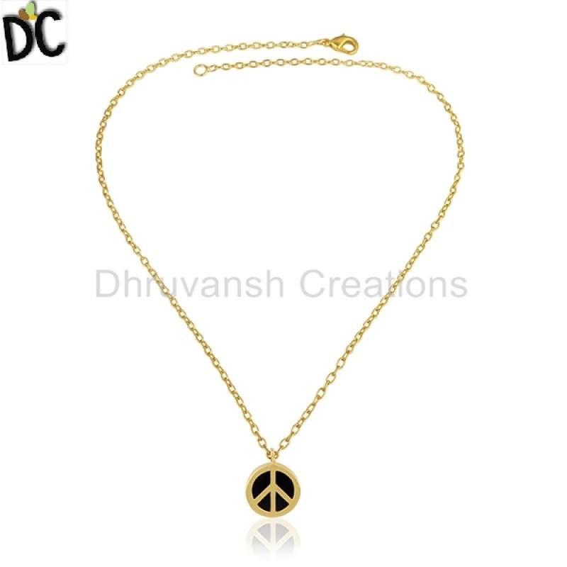 Exclusive Design Peace Sign Chain Pendant Gemstone Jewelry Gold Plated Silver Pendant suppliers