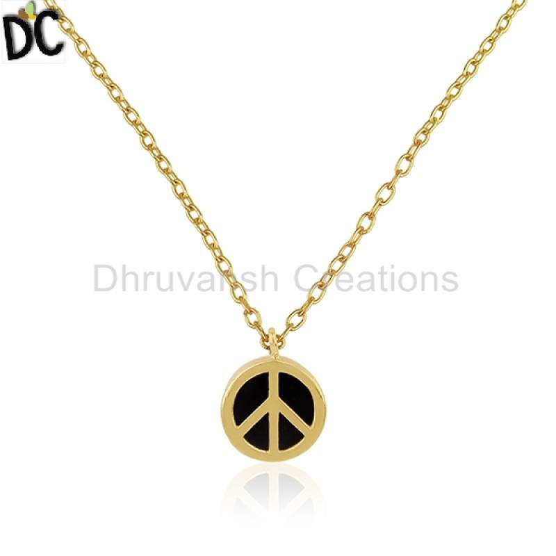 Exclusive Design Peace Sign Chain Pendant Gemstone Jewelry Gold Plated Silver Pendant manufacturer