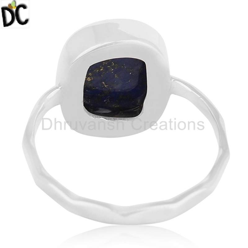 Natural Lapis Lazuli Gemstone 925 Fine Silver Handmade Ring Jewelry Supplier