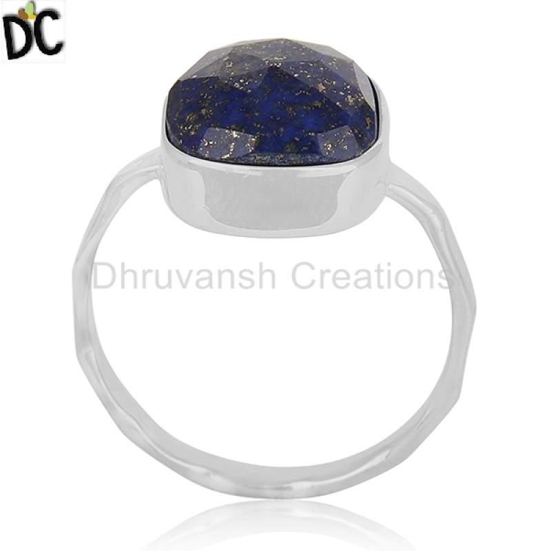 Wholesalers Natural Lapis Lazuli Gemstone 925 Fine Silver Handmade Ring Jewelry