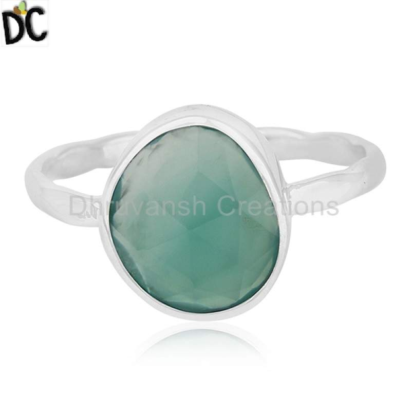 Wholesale Natural Green Onyx Gemstone 925 Silver Ring Jewelry