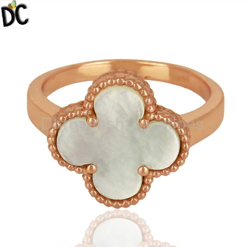 Rose Gold Plated 925 Sterling Silver Mother Of Pearl Clover Design Ring manufacturers