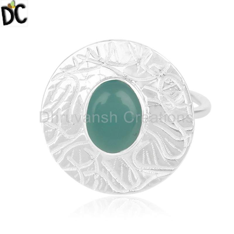 Wholesalers Green Onyx Gemstone Designer 92.5 Silver Ring Jewelry
