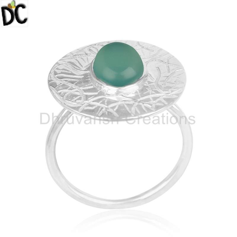 Green Onyx Gemstone Designer 92.5 Silver Ring Jewelry Manufacturers
