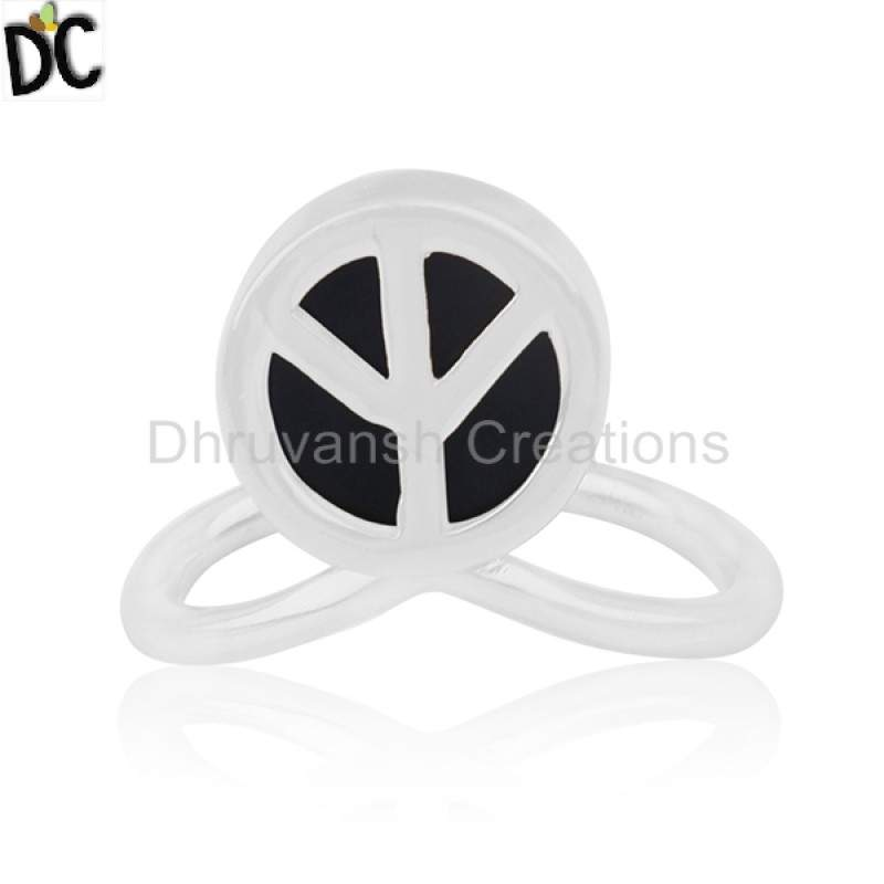 Designer Peace Sign Ring Gemstone Jewelry 925 Sterling Silver Rings Suppliers